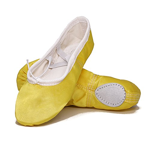 GetMine Kids Girls Satin Ballet Dance Shoes Split-Sole Practice Gymnastics Ballet Slippers 13 M US Little Kid ()