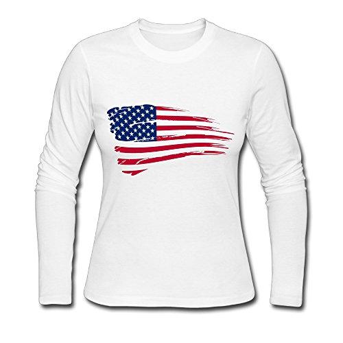 Women's Fashion American Map Long Sleeve T White US Size M