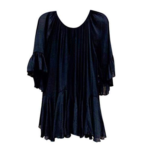 Schwarz Shirt Irrgulier Blouse Top Mode Jeune Femme Et Chic Rond Confortable Uni Elgante Volants Haut Manche Tee Manches Blusen Tops Col Courtes 1n4qvT5wxf