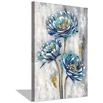 Abstract Floral Canvas Wall Art: Flower Artwork Hand Painted Picture Painting for Bedroom (36'' x 24'' x 1 Panel)