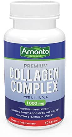 Premium Multi Collagen Peptide Capsules (Types I,II,III,V,X) - Anti-Aging Formula, Healthy Skin & Hair, Strong Joints, Bones & Nails - Hydrolyzed Protein Supplement for Man and Woman - 1000mg