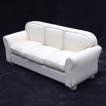 Dollhouse Miniature Off White Leather Look Sofa. Amazon com  Dollhouse Miniature Off White Leather Look Sofa  Toys