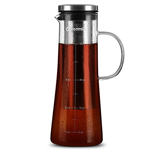 zanmini Cold Brew Coffee Maker, 6 in 1 Glass Infusion Pitcher 1 Quart 32 oz with 304 Stainless Steel Filter and High-Grade Glass Pitcher for Hot Cold Coffee, Tea, Fruit, Juice, Milk and Beer