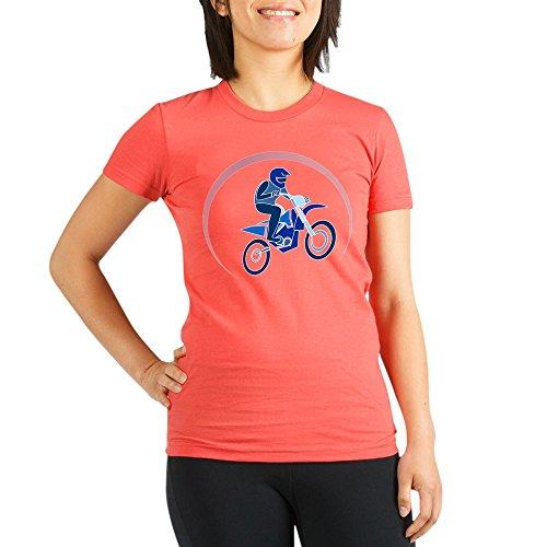 (Truly Teague Org Women's Fitted T-Shirt Dk Motocross MX Flying Dirt Bike in Blue - Pomegranate, XL)