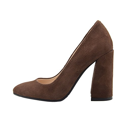 Shoes Toe C Block High Comfort cacao Leather Pointed Women's Verocara Heel Pumps Solid XvaxTqPFw