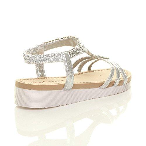 t Bar Riemen Absatz Drei Größe Sandalen Diamante Wedge Silber Low Slingback Damen Damen Flatform SxwqAY400