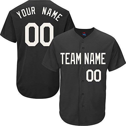 (Custom Baseball Jersey for Men Women Youth Button Down Embroidered Your Name & Numbers S-5XL)