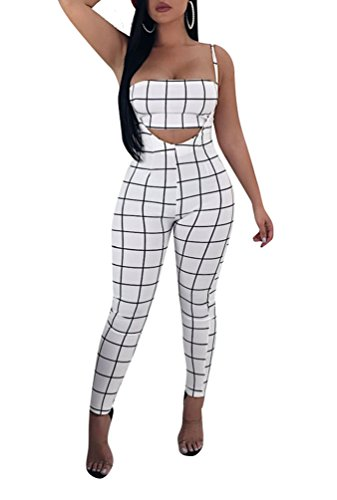 Remelon Womens Sexy Plaid Print 2 Piece Outfits Tube Crop Top Strap Sleeveless Suspender Jumpsuits Overalls White S