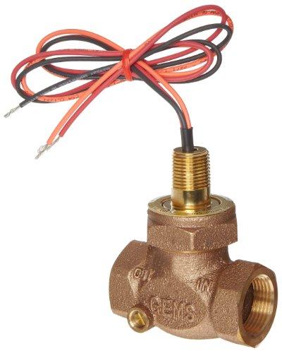 Gems Sensors FS-200 Adjustable Series Bronze Flow Switch, Inline, Shuttle Type, 1.0 - 6.0 gpm Flow Setting Adjustment Range, 1'' NPT Female by Gems Sensors