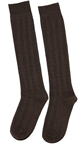 SuperPrima Women's 70% Cotton Classic Cable Knit Knee High Socks (Brown)