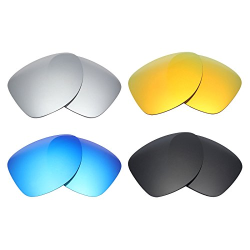 Mryok 4 Pair Polarized Replacement Lenses for Oakley Dispatch 2 Sunglass - Stealth Black/Fire Red/Ice Blue/Silver - 2 Oakleys Dispatch