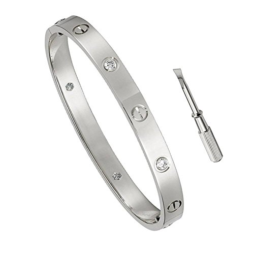 MVCOLEDY Birthday Gift for Her Love Bracelet- Titanium Steel Screw Hinged Cuff Bangle Bracelet White Gold w/CZ Stone 6.5IN by MVCOLEDY (Image #1)