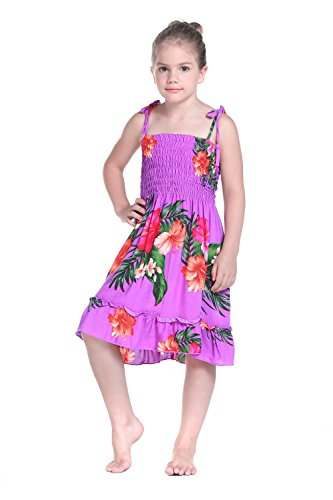 Girl Purple Floral Hawaiian Luau Dress in Various Styles