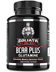 BCAA + 1500mg Glutamine - Highest Capsule Dose (3200 mg) - Branched Chain Amino Acids w/Optimal 2:1:1 Ratio - Enhanced Recovery and Growth Stack for Men and Women (150 BCAA Pills)