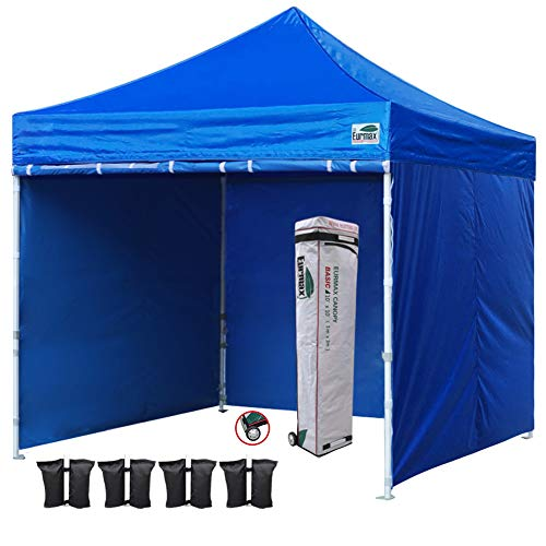 Eurmax 10×10 Ft Easy Pop-up Canopy Commercial Instant Party Tent with 4 Removable Sides and Roller Bag, Bonus 4pcs Weight Bags (Royal Blue) For Sale