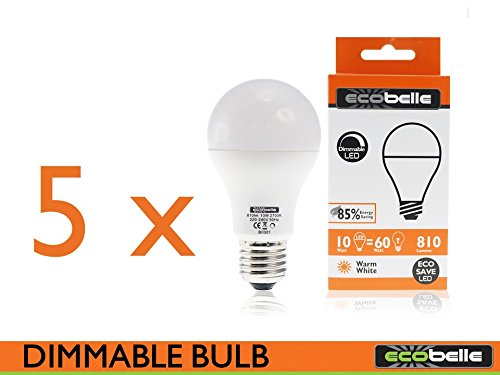 ECOBELLE® 5 x Bombillas LED E27 A60 10W 810 Lúmenes (Equivalente a 60W), Color Blanco Cálido 2700K, Bombilla LED Regulable: Amazon.es: Iluminación