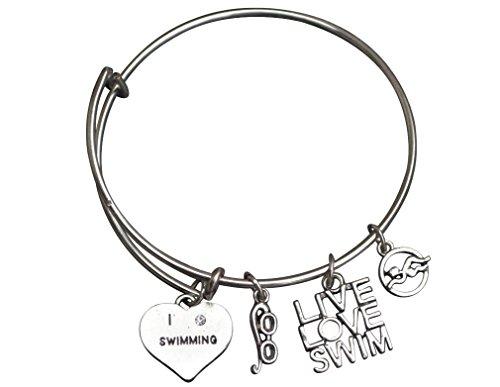 Infinity Collection Swim Bangle Bracelet- Girls Swimming Bracelet- Swim Jewelry For Swimmers ()
