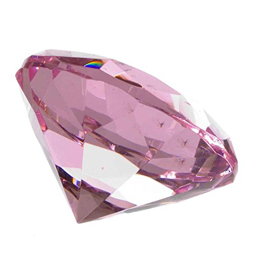 Ruby Glass Diamond Shaped Paperweight (Pink)
