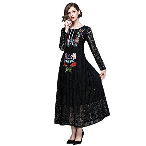 Lace Neck Long Embroidery Scoop cotyledon Women`s Sleeve Dresses HpxZwz