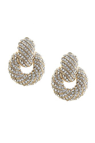 TRENDY FASHION JEWELRY CRYSTAL ENCRUSTED DOOR KNOCKER CLIP EARRINGS BY FASHION - Fashion Trendy Wholesale