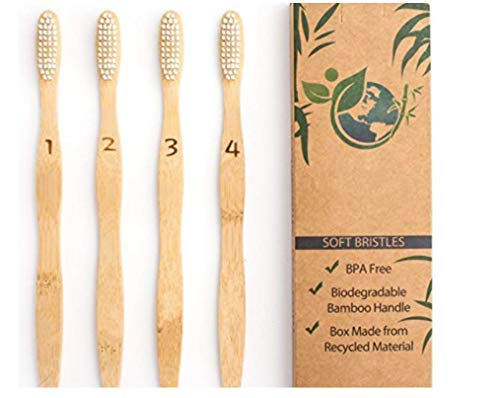 Bamboo Toothbrush Set | Natural Biodegradable | Eco-Friendly & Vegan | BPA-Free Soft Bristles | Dental Care for Men, Women & Kids | 4-Pack | Zero Waste Gift by E-Zshop4u