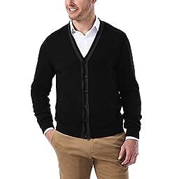 Haggar Men\'s Long Sleeve Lightweight Buttondown Cardigan Sweater, Black, Large