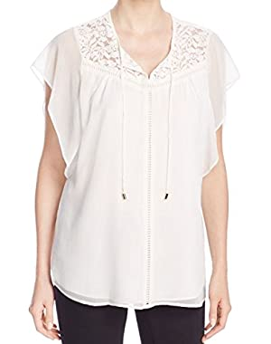 Calvin Klein Womens Large Floral Lace Blouse White Ivory L