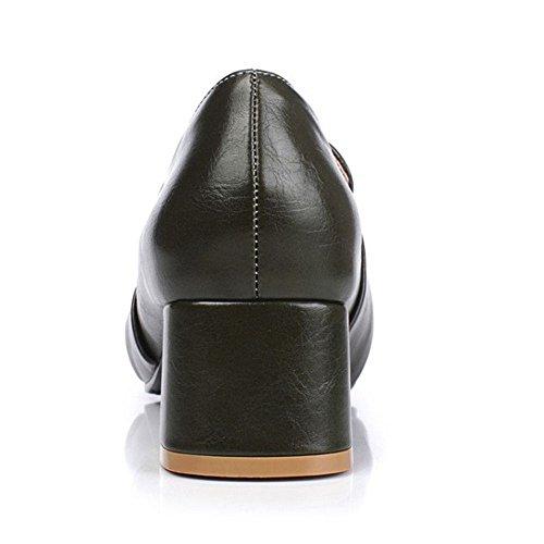 COOLCEPT Mujer Classic Hebilla Belt Acento Irlandes Zapatos Tacon Alto Medio Bombas Zapatos Extra Tamano Verde