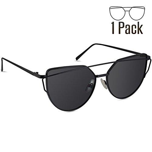 Livhò Sunglasses for Women, Cat Eye Mirrored Flat Lenses Metal Frame Sunglasses UV400