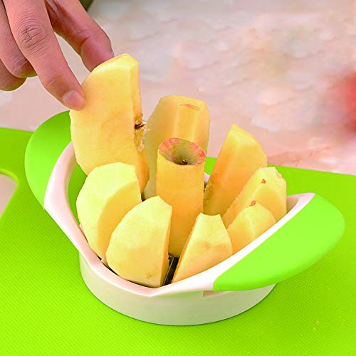 LYUSan Apple Slicer and Corer 8 Sharp Blades Apple Peeler Slicer Corer - 430 Grade Stainless Steel, 3.5 Inch Fruit Divider(Green)