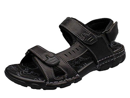 Black Leather Men's Strap Sandal Velcro Chickle aqOXFRxARn