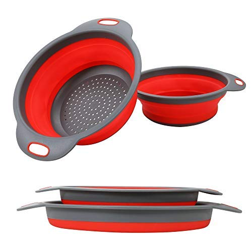 Silicone Flexible Strainer - 2PC Collapsible Colander, Kitchen Colander Strainer, Silicone Vegetable/Fruit Flexible strainer, Folding Strainer for Kitchen (Red Colanders)