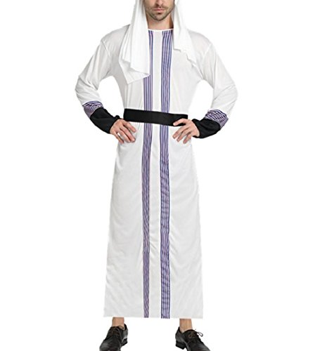 Young2 Men's Pleated Muslim Thobe Abaya Caftan Long Sleeve Comfort Dubai Robe White OS by Young2