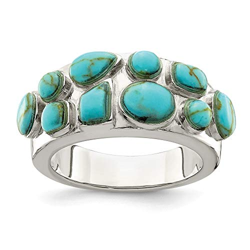 925 Sterling Silver Synthetic Blue Turquoise Inlay Band Ring Size 8.00 Stone Fine Jewelry Gifts For Women For Her (Cushion Ring Turquoise Cut)