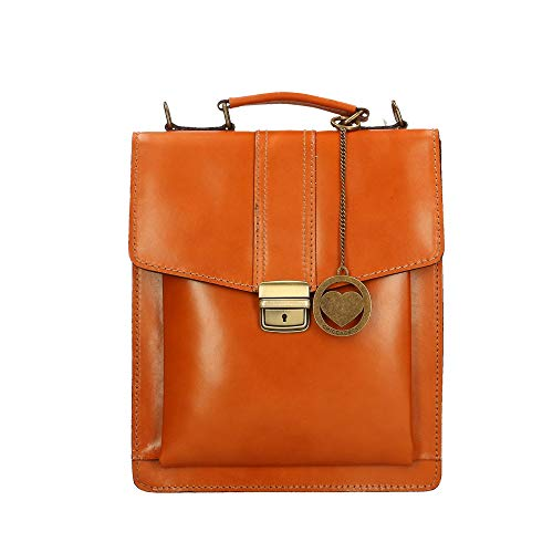 Borse Tan Briefcase Chicca Cm Organizer Genuine Made Bag Italy In Small Shoulder 27x32x10 Leather AqFwdFO