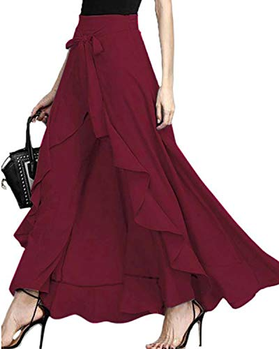 FLORHO Women Casual Ruffle Palazzo Long Pants Split High Waist Pleated Maxi Skirt Wine Red XL