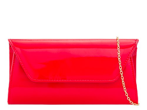 Evening Patent Purse Envelope KL2250 Bag Ladies Clutch Red Women's Party Handbag g4nwxX
