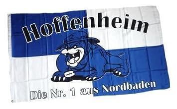 Flagge Fahne Hoffenheim Bulldogge Fan Hissflagge 90 x 150 cm