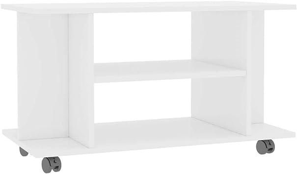 vidaXL Mueble TV con Ruedas Aglomerado Blanco Brillante 80x40x40cm Mobiliario Accesorios Centro Entretenimiento y Multimedia Diseño Moderno Práctico: Amazon.es: Electrónica