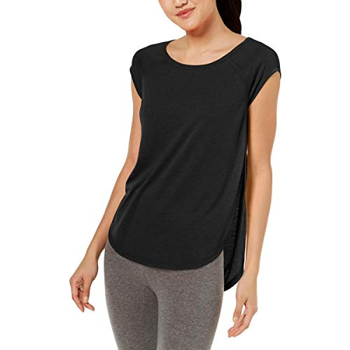 Calvin Klein Performance Women's Cap Sleeve tee with Back Cut Out, Black X Large ()