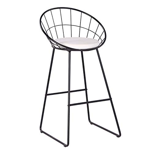 AC Pacific Bar Chair Wrought Iron Stool, Modern Minimalist Barstool, Black