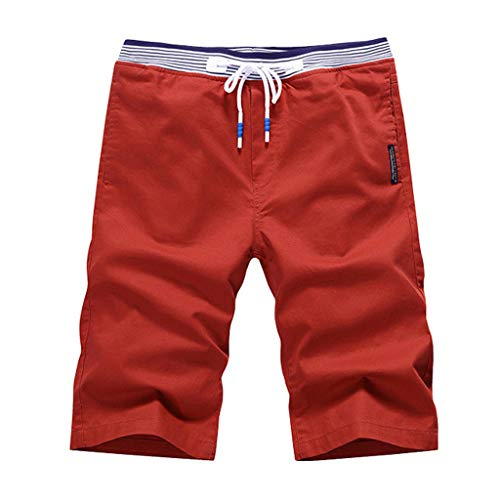 OrchidAmor 2019 Men's Boys Summer Fashion Casual Solid Swag Loose Comfort Sports Beach Happy Vacation Shorts Pants Orange