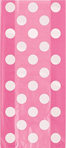 Hot Pink Polka Dot Cellophane Bags, 20ct