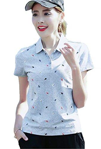 JIANGWEI レディース ポロシャツ ゴルフ 半袖 Tシャツ ゴルフウェア 吸汗 速乾 通気 ストレッチ 折り襟 コットン 大きいサイズ 4色 葉柄