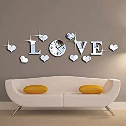 Alrens_DIY(TM)Silver Creative Love Heart Boutique Store Art Mordern Luxury Design DIY Acrylic Non-ticking Quiet Quartz Wall Clock Watch Removable 3D Crystal Mirror Wall Clock Wall Sticker Home Decor Art Living Room Bedroom Office Decoration