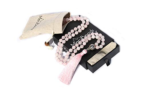 Premium Frosted Rose Quartz Mala Beads Necklace - 108 Mala Beads 8mm - Japa Mala Beads - Mala Beads for Women - Tibetan Mala Beads - Mala for Women - Rose Quartz Necklace - Mala Necklace