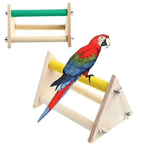 Fun Pet Parrot Bird Perch Stand Play Toys Gym Wooden Activity Table Playstand