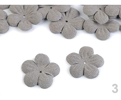 10pc 3 Pearl Grey Cotton Flower Petals DIY Ø27mm, and Bloom Production, Clothing, Footwear Decor Accessories, Haberdashery