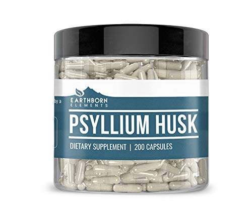 Psyllium Husk Capsules, 200 Capsules (1,500 MG per Serving) (33-Day Supply) by Earthborn Elements, Natural Fiber Powder to Promote Overall Digestive & Heart Health, Freshest & Highest Quality