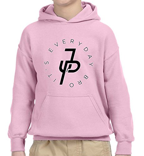 New Way 829 - Youth Hoodie It's Everyday Bro Jake Paul JP Logo Unisex Pullover Sweatshirt Medium Light Pink